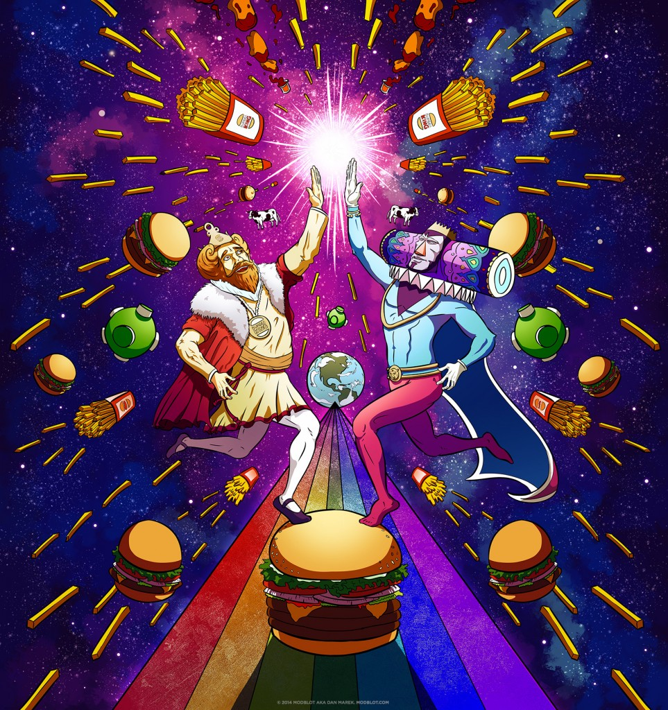 Cosmic High Five: Burger King + Katamari Damacy King of All Cosmos Fan Art Piece